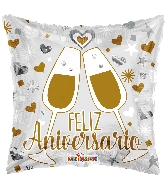 "18"" Feliz Aniversario Glasses Foil Balloon"