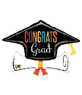 "36"" Mighty Congrats Grad Diploma Foil Balloon"