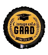 "18"" MAX Float Balloon Congrats Grad Gold Foil Balloon"