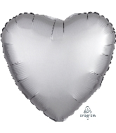 "18"" Satin Luxe™ Platinum Heart Foil Balloon"