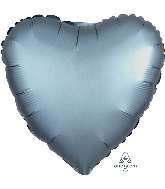 "18"" Satin Luxe™ Steel Blue Heart Foil Balloon"