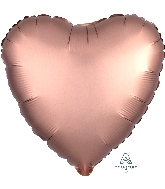 "18"" Satin Luxe™ Rose Copper Heart Foil Balloon"