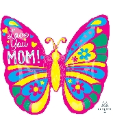 "25"" Love You Mom Butterfly ColorBlast XL® Foil Balloon"