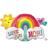 "30"" Love You Mom Rainbow SuperShape™ Foil Balloon"