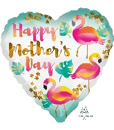 "18"" Happy Mother's Day Flamingos Foil Balloon"