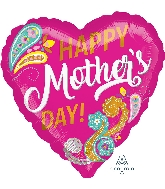 "18"" Happy Mother's Day Paisley Foil Balloon"