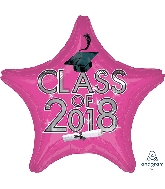 "18"" Class of 2018 - Pink Star Shape Foil Balloon"