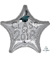 "18"" Class of 2018 - Silver Star Shape Foil Balloon"