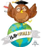 "42"" Hello World Owl Multi-Balloon Foil Balloon"