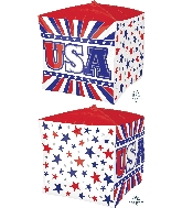 "15"" USA Stars & Stripes UltraShape™ Cubez™ Foil Balloon"