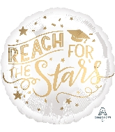 "18"" Reach for the Stars White & Gold Foil Balloon"