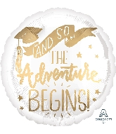 "18"" The Adventure Begins White & Gold Foil Balloon"