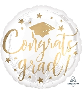 "18"" Congrats Grad White & Gold Foil Balloon"