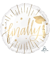 "18"" Finally White & Gold Foil Balloon"