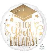 "18"" Follow Your Dreams White & Gold Foil Balloon"
