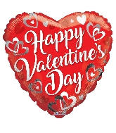 "18"" Happy Valentine's Day White Hearts Foil Balloon"
