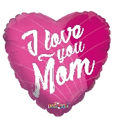 "18"" I Love You Mom Pink GelliBean Foil Balloon"