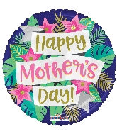 "18"" Happy Mother's Day Banner & Flowers Foil Balloon"