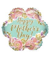 "18"" Happy Mother&#39s Day Flowers Gold Letters Foil Balloon"