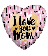"18"" I Love You Mom Gold & Pink Foil Balloon"