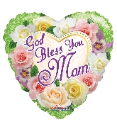 "18"" God Bless You Mom Flowers Foil Balloon"
