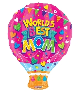 "18"" World 's Best Mom Shape GelliBean Foil Balloon"