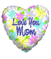"18"" Love You Mom Flowers & Dots Foil Balloon"