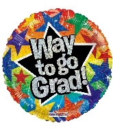 "18"" Way To Go Grad Stars Ho Foil Balloon"
