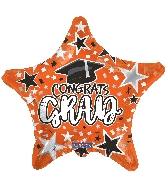 "18"" Grad Star Orange Foil Balloon"