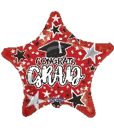 "18"" Grad Star Red Foil Balloon"