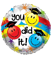 "18"" You Did It Smilies Foil Balloon"