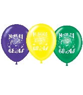 "17"" Mardi Gras Assorted Printed Latex Balloons 50 Per Bag"