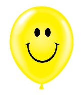 "17"" Smile Face Yellow Printed Latex Balloons 50 Per Bag"
