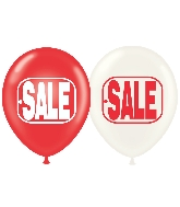 "17"" Sale Crystal Red/Wht Printed Latex Balloons 50 Per Bag"