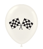 "17"" Checkered Flag Printed Latex Balloons 50 Per Bag"