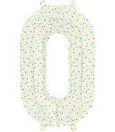 "16"" Airfill Number 0 Sprinkles Foil Balloon"