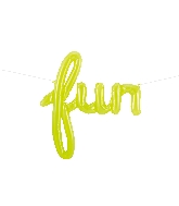 "43"" Airfill Only Fun Script - Clear Lime Green Script Word"