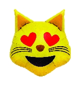 "22"" Helium Balloon Emoji Cat Heart Eyes Shape"