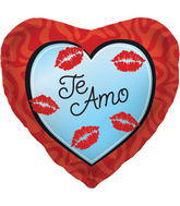 "18"" Foil Balloon Te Amo Kisses"