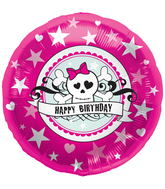 "18"" Foil Balloon Birthday Skully Pink"