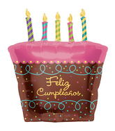 "31"" Foil Balloon Feliz Cumpleaños Cake with Candles"