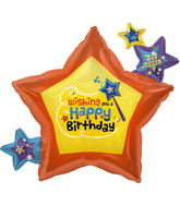 "26"" Foil Balloon Wishing You Birthday Stars"