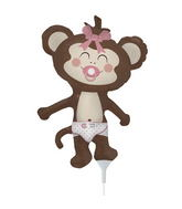 "14"" Airfill Self Sealing  Balloon Baby Girl Monkey"