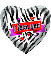 "18"" Foil Balloon Zebra Love"
