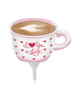 "14"" Love You a Latte Airfill Balloon Includes Cup and Stick."