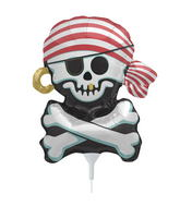 "14"" Jolly Roger Airfill Balloon Includes Cup and Stick."