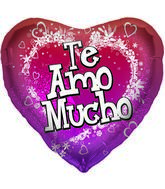 "18"" Foil Balloon Te Amo Mucho White Flowers"