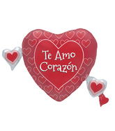"36"" Foil Balloon Te Amo Corazon Multi Hearts"