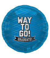 "18"" Foil Balloon Way To Go Blue-Round"