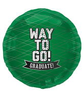 "18"" Foil Balloon Way To Go Green-Round"
